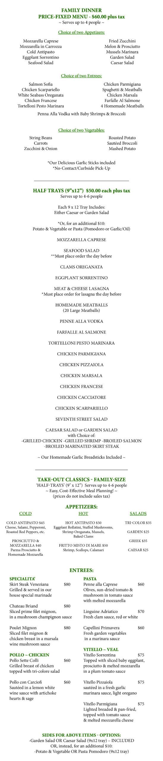 Take Out Catering Menu